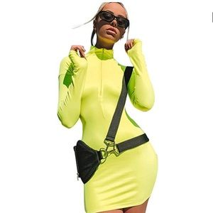 Dresses & Skirts - Long Sleeve HighNeck Zipper Bodycon Slim Fit Dress